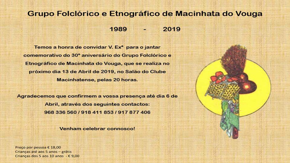 30º aniversário do Grupo Folclórico Etnográfico de Macinhata do Vouga